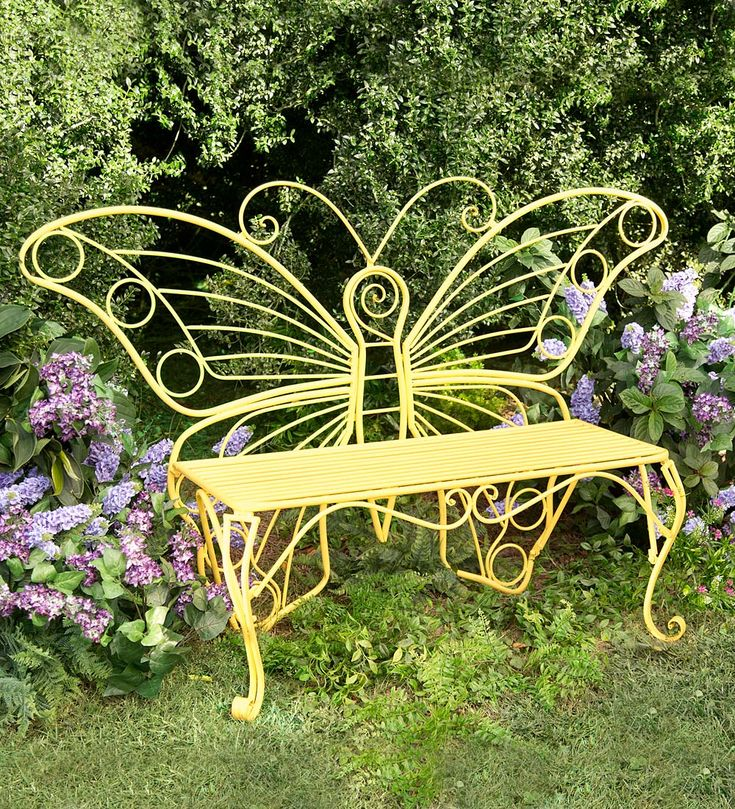 Yellow Butterfly Garden Bench Patio Porch Deck Backyard Home Decor Furniture