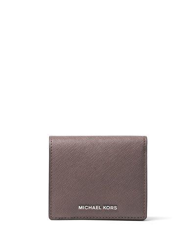 MICHAEL MICHAEL KORS Jet Set Travel Saffiano Carryall Card Case, Cinder. #michaelmichaelkors #bags #leather #accessories #cardholder #