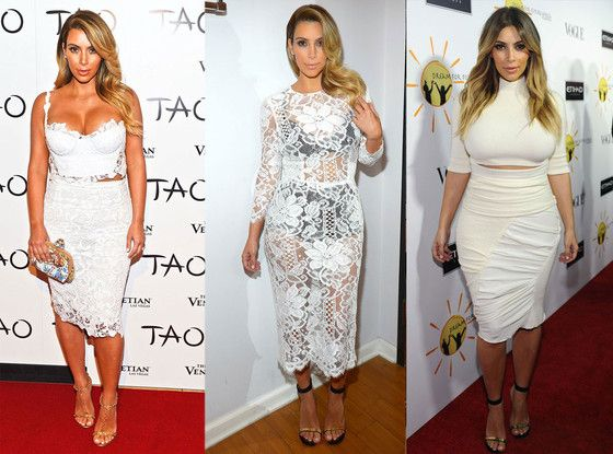 Kim Kardashian wearing white dresses on the Red Carpet- http://fashionilluminati.com/who-wore-it-best-lace-crop-top-dress/