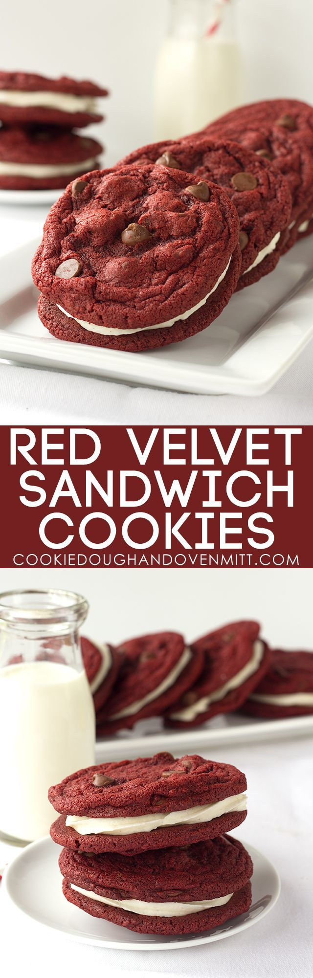 Red Velvet Sandwich Cookies - Chewy red velvet chocolate chip cookies stuffed with a fluffy cream cheese frosting.