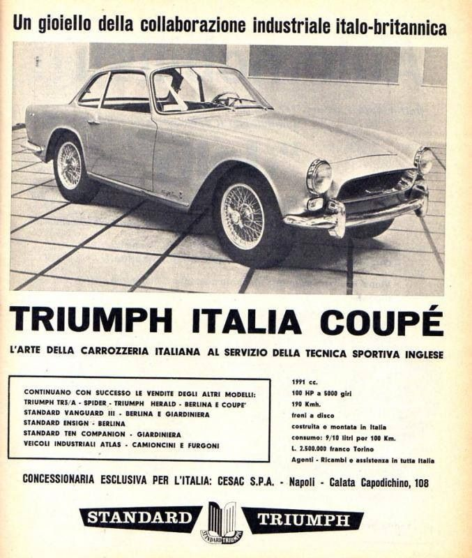 """Triumph Italia Coupe. """"Italian bodywork at its best, British tradition in sports car engineering at its finest."""""""