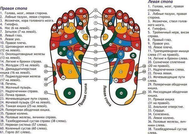 Self-massage: take feet in hands / Medical Art