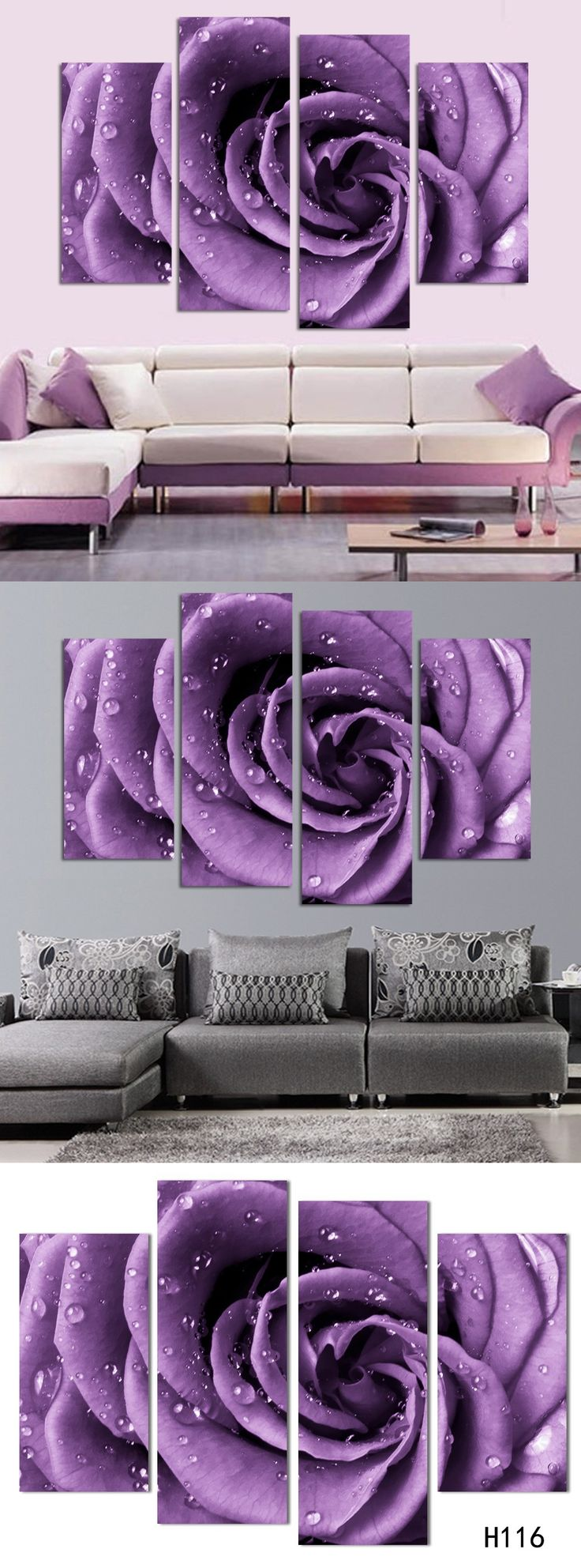 Free Shipping 3 piece wall art white purple lover flower big perfect canvas wall art on Canvas Picture Modern Picture home decor $36.6
