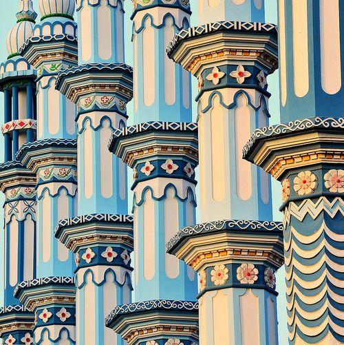 side by side minarets -  Bodh Gaya, India. by baxsyl