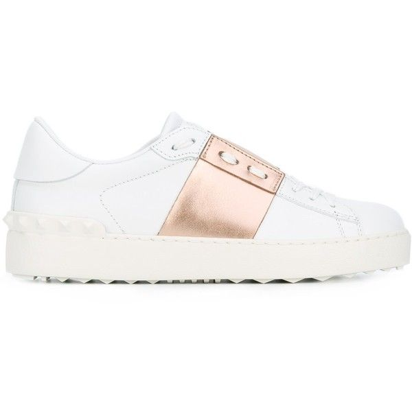 Valentino Open Sneakers ($695) ❤ liked on Polyvore featuring shoes, sneakers, white, lace up shoes, valentino trainers, white trainers, lacing sneakers and valentino shoes