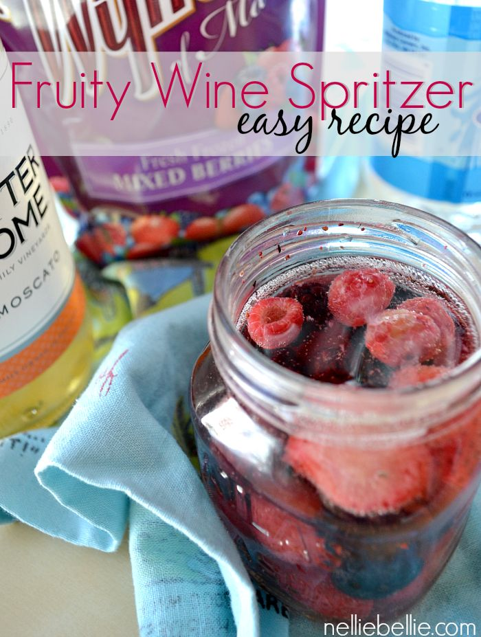 Easy recipe for a fruity wine spritzer! A great drink to keep supplies for the next party!