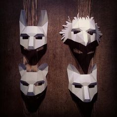 DIY, Low Poly, Animal Masks by Wintercroft. Papercraft Handmade Masks for Halloween. half face mask collection