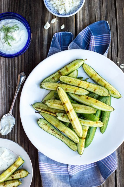 Grilled Cucumbers with Creamy Pickled Feta Dip!  This recipe takes cucumbers to the next level!