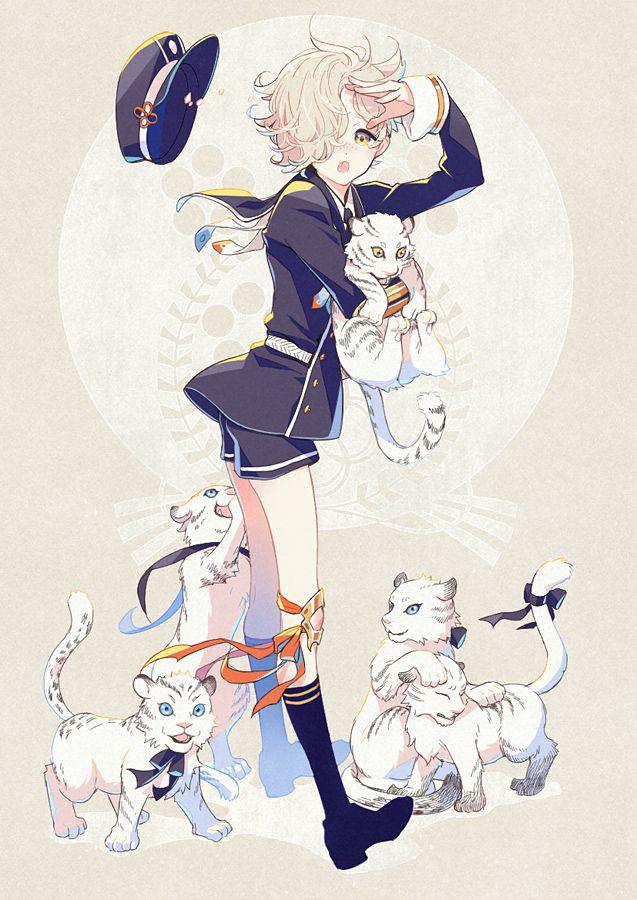 Tags: Anime, Hima (Abgata), Touken Ranbu, Gokotai, Knee High Socks, Tiger, Military Hat