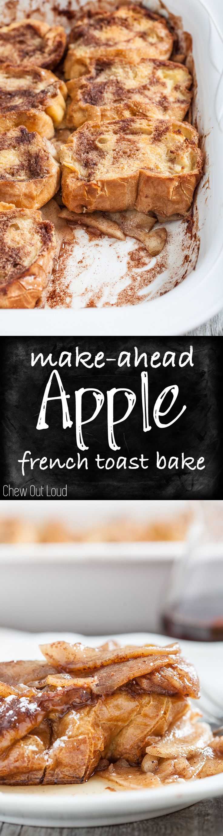 This Upside-Down Apple French Toast Bake is make-ahead easy! prepare it all the night before, sleep in, and pop it in the oven the next morning! It's hearty, delish, and not soggy at all. #apple #frenchtoast #breakfast