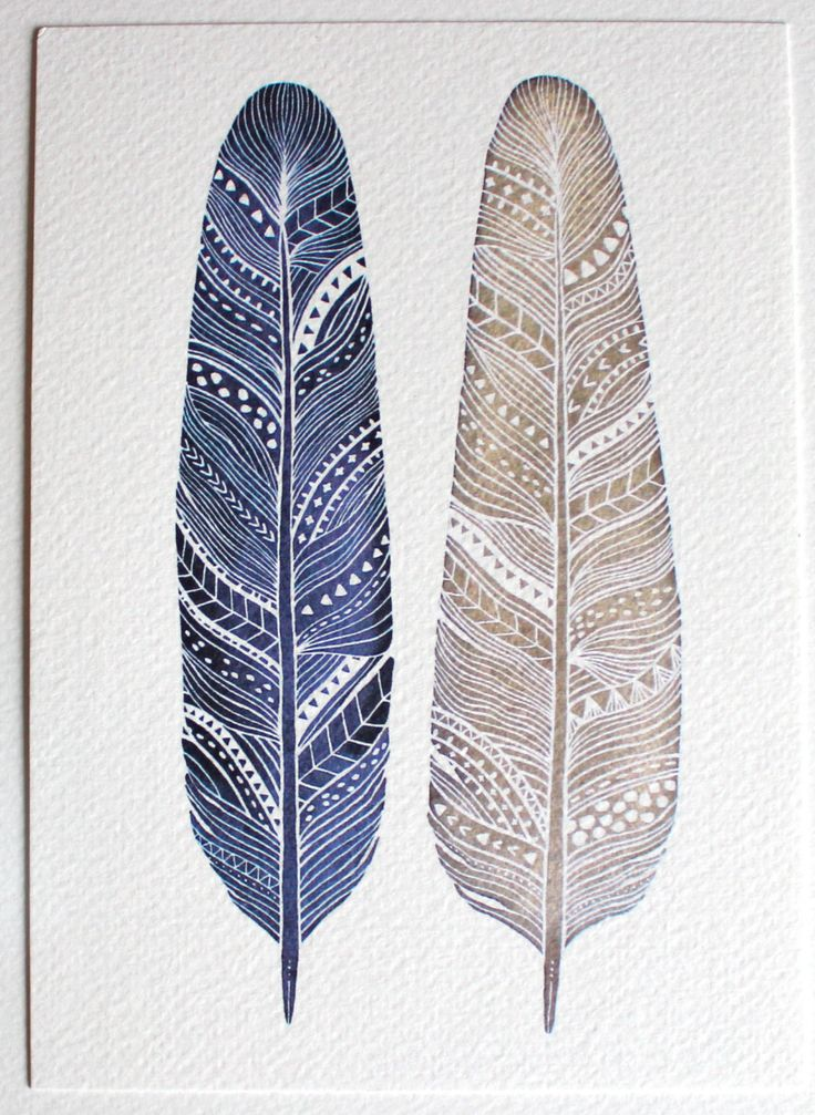 Patterned Feather Painting - Watercolor Art - Archival Print - 8x10 Amethyst Feathers. $20.00, via Etsy.
