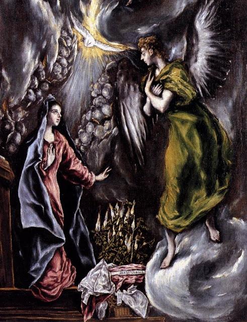 """El Greco, """"The Annunciation,"""" [1596-1600]. Oil on canvas, 315 x 174 cm. in Museo del Prado, Madrid."""