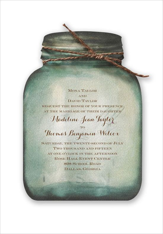 mason jar wedding invite from Invitations By Dawn