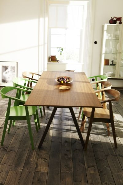 Long dining tables make a big statement in the room. This IKEA STOCKHOLM table top in walnut veneer and solid ash legs bring a warm, natural feeling to your dining space.