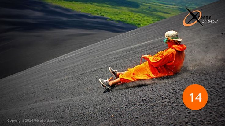 14- #VolcanoBoarding | Cerro Negro Mountain, #Nicargua  Sane people would run as far away as possible from a #volcano. But then there are those who want to Board on its slopes. This thrill-seeking adventure is an insane sport. Volcano boarders wear their safety suits and descend a volcano's 41 degree slope at speeds of 50 miles per hour!  Bizarre!!
