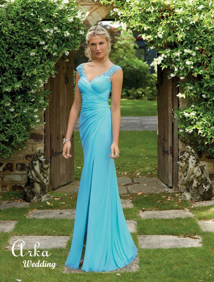 Φόρεμα Δεξίωσης με Κέντημα Δαντέλας, και Άνοιγμα. Κωδ. 29214