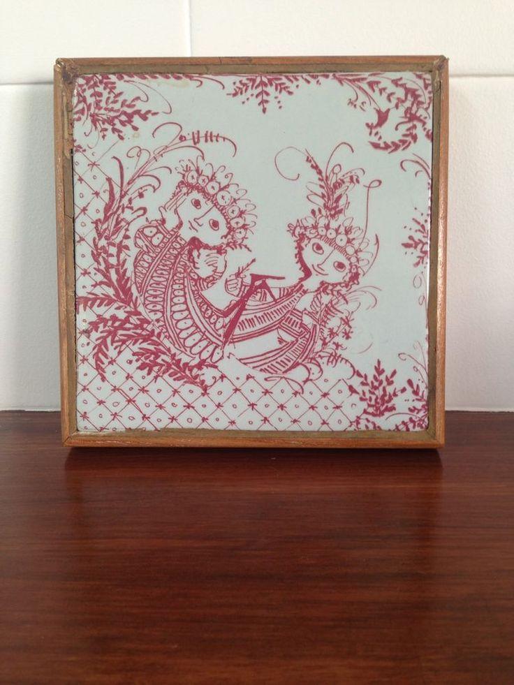 Bjorn Wiinblad Nymolle Denmark RED Ceramic Tile in Wood Frame Couple 3171-219 #BjornWiinbladNymolle