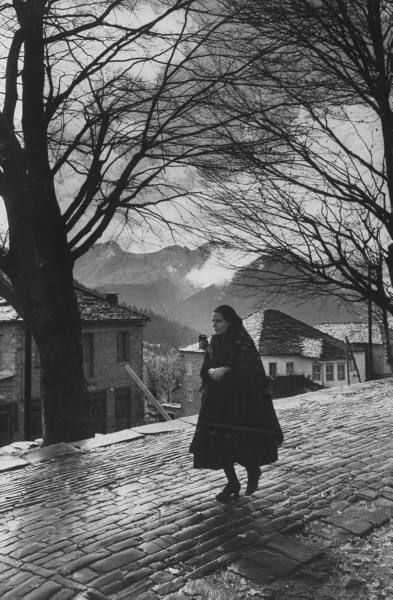 Village in the Pindus mountains. Photograph by James Burke. Metsovon, Greece, November 1959.