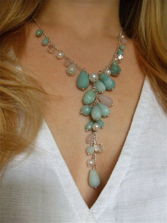 Amazonite Necklace Crystal Necklace Mint Necklace by LaMerLove