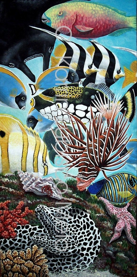 FISH FRENZY Fine Art Original Hand Painted by MeloArtGallery, $699.00