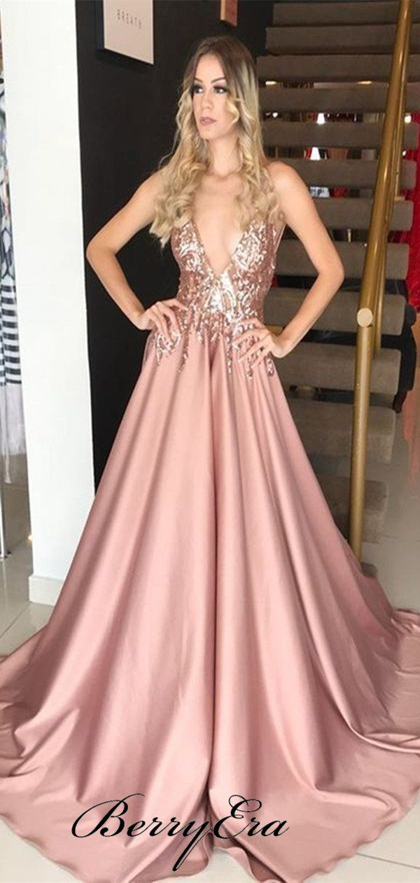 ce583919467 Deep V-neck Sequins Sexy Prom Dresses