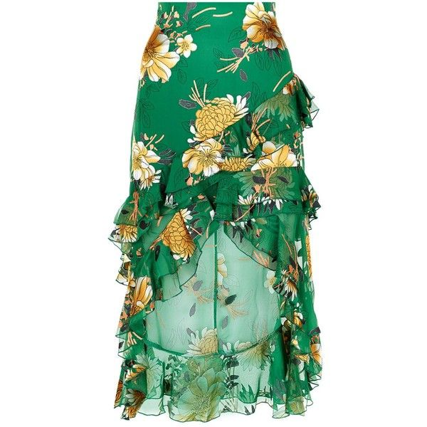 Alice + Olivia Sasha Asymmetric Tiered Ruffle Skirt ($635) ❤ liked on Polyvore featuring skirts, hi low skirt, green asymmetrical skirt, green high low skirt, short front long back skirt and mullet skirt