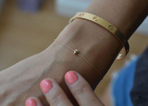 skull.: Tiny Skull, Style, Gold Bracelets, Skull Bracelets, Cartier Bracelets, Jewelry, Jewels, Accessories, Cartier Love Bracelets