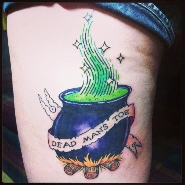 Hocus Pocus movie inspired witches cauldron tattoo