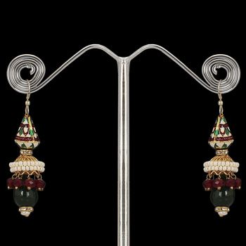 White, Red and Green Stone Studded Earring