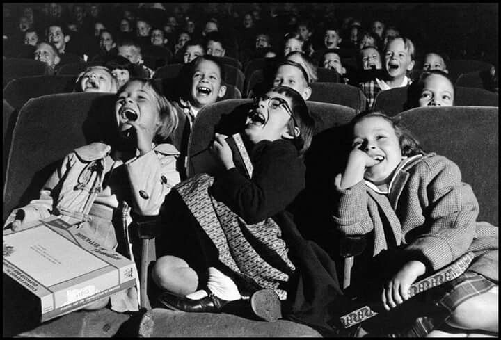 Hapiness. Children at the cinema, 1958.