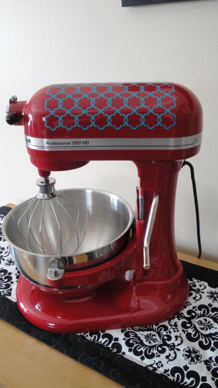 Flower quatrefoil decal for kitchenaid mixer