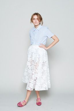 Jane Shirt in Stripe and Dreamer Skirt in Floral Organza