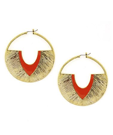 Take a look at this Red & Gold Modern Definition Hoop Earrings by Jessica Simpson Collection on #zulily today!