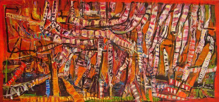El show de las dendritas enmarañadas 2 (serie) 74x159cm. acrilico sobre tela. (Vendido)*