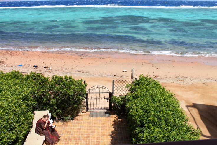 View from the balcony. Beach life style for your family holiday. Spacious 2 bed room apartment directly at the beach, sleeps up to 5.  #Dahab #Accomodation #holiday rentals #vacation homes #beach #kite surfing #travel #Sinai #Egypt