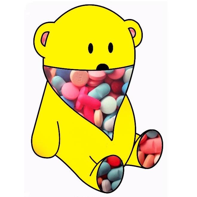 yellow bear & pills bandana