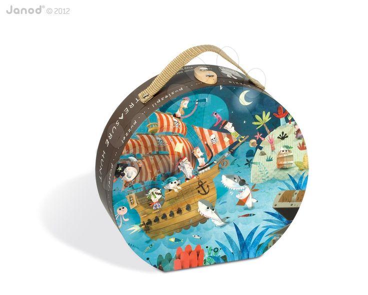 Dětské puzzle Lovci pokladů Janod v kulatém kufříku 36 dílů od 4 - 7 let
