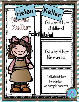Have your children research Helen Keller   Includes a foldable and fast facts printable in color and black and white