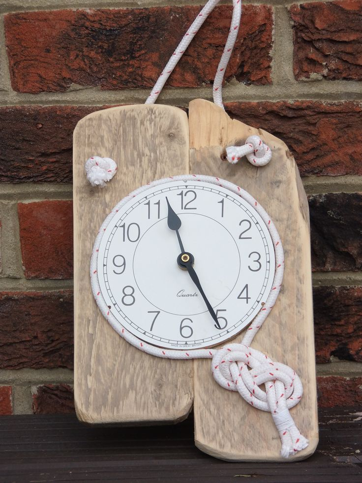 Clock made from driftwood and rope found on the beach