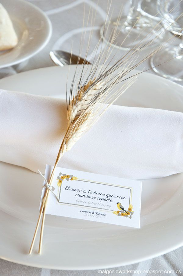 The best man gave us some wheat, so we tied it to the cards made for the guests, these cards had a quote chosen by the bride and groom.