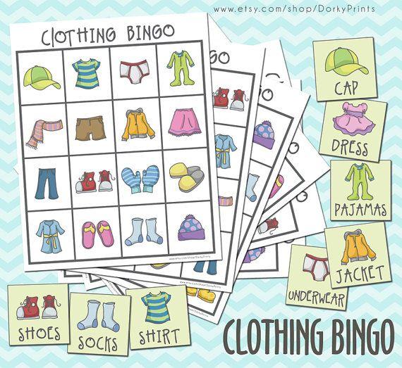 Clothing Printable Bingo Game PDF  preschool por DorkyPrints, $3.99
