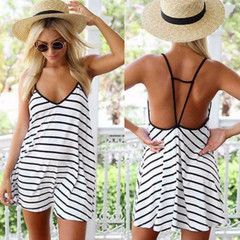 Backless Stripe Loose Women Bikini Cover Up - Daisy Dress For Less