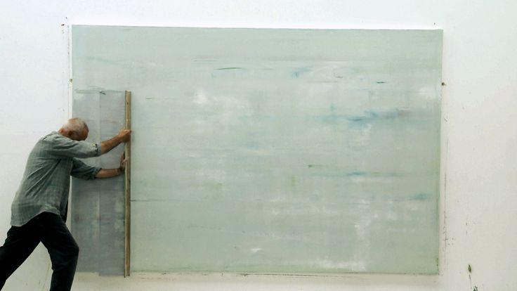 Gerhard Richter working in his studio