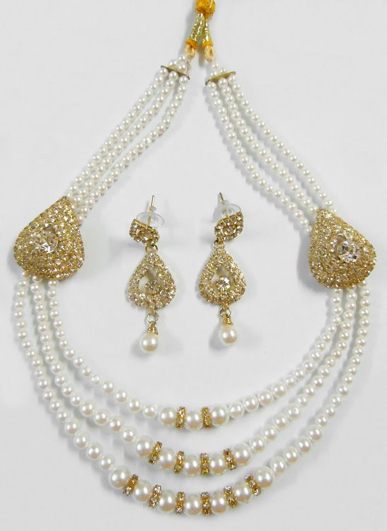 Three Layer Faux Pearl Bead Necklace with White Stone Studded Earrings (Stone And Beads))
