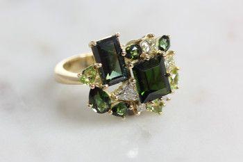 Bilkey & Co. Tourmaline, Diamond and Peridot cluster ring.