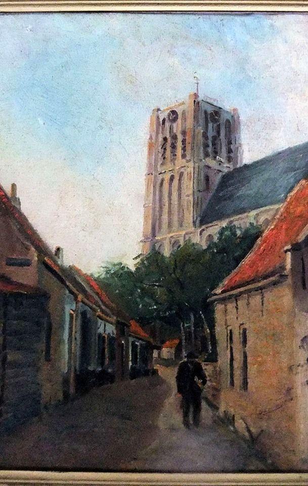 """Brielle - Schilderij """"Heultje"""" 1910"""