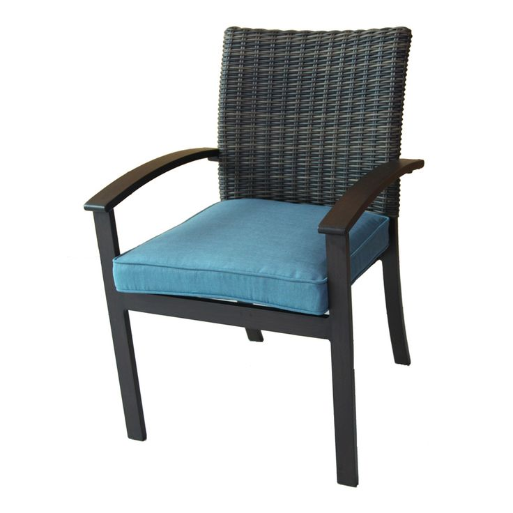 allen + roth Atworth 4-Count Brown Wicker Patio Dining Chairs with Peacock Blue Cushions