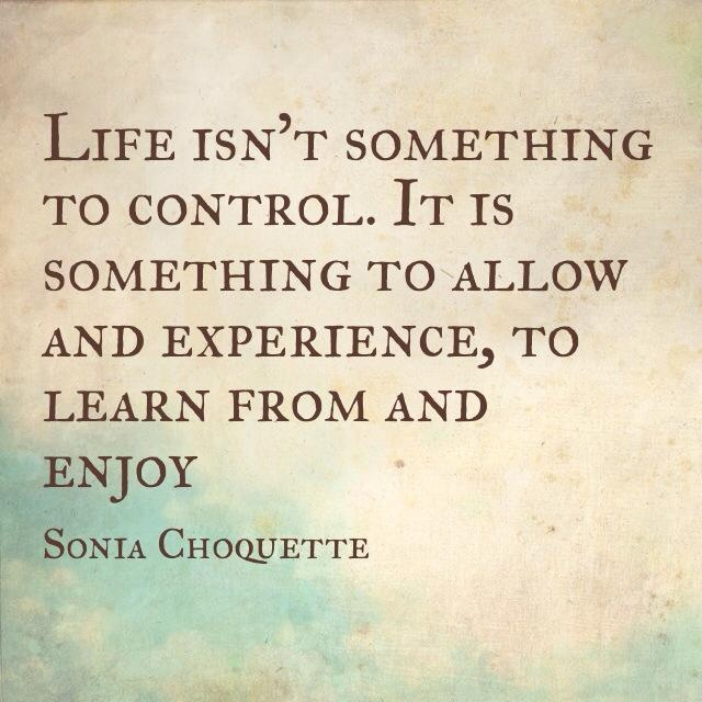Life isn't something to control. It is something to allow and experience, to learn from and enjoy ~ Sonia Choquette