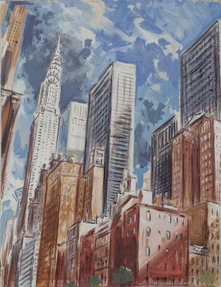 Philippe Casanova; Murray Hill; New York (Lexington Av.); Tempera on paper lined on canva; 2011-2016
