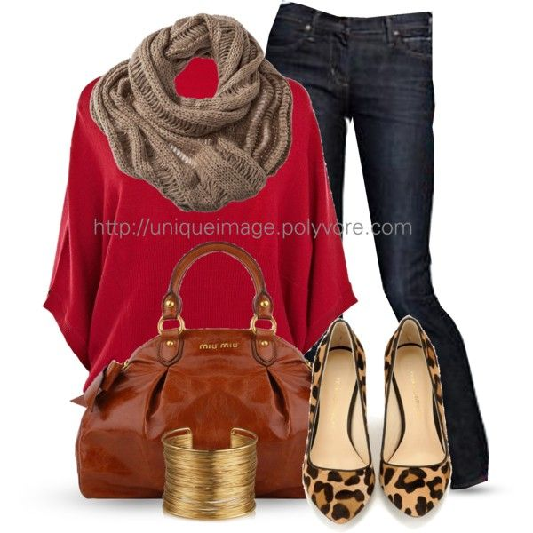 Casual Outfit: Red Sweaters, Leopards Shoes, Style, Jeans, Fall Outfits, Animal Prints, Leopards Prints, Casual Outfits, Leopards Flats